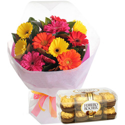 Birth-Day Zesty Ferrero Rocher Chocolates with Mixed Gerbera Bouquet