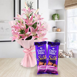 Gift Combo of Pink Lilies Bouquet and Dairy Milk Silk Online