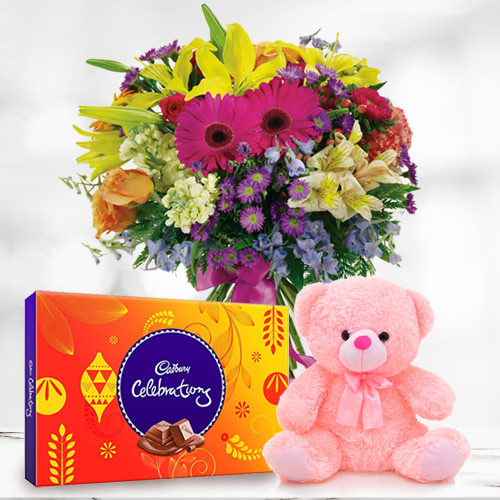 Birth-Day Unique Mixed Flower in a Vase with Gratifying Cadbury Celebration N Small Teddy