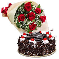 Send Online Black Forest Cake with Red Roses Bouquet