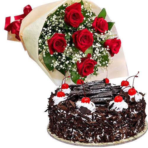 B Day Garden Fresh Red Rose Bouquet with Black Forest Cake