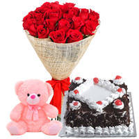 Online Order Black Forest Cake with Red Rose Bouquet and Teddy