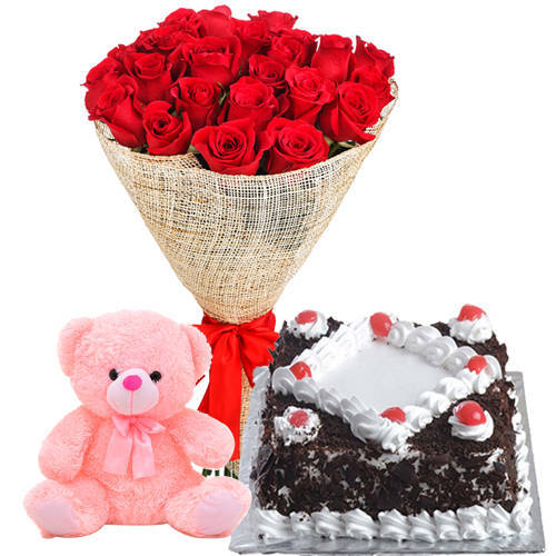 B Day Cheer with Red Rose Bouquet, Black Forest Cake and Small Teddy