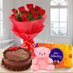 Shop Red Roses Bouquet with Chocolate Cake, Teddy N Cadbury Celebration