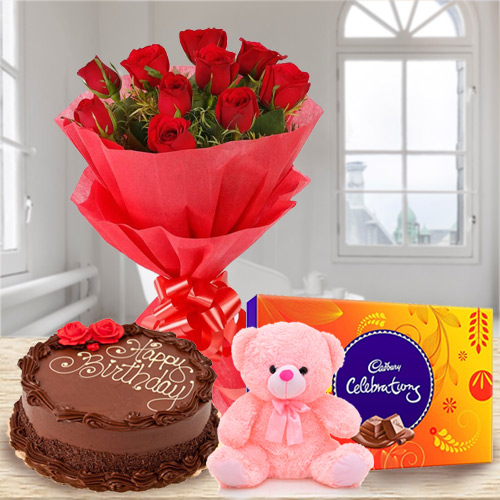 Party Time Birth-Day Chocolate Cake with Red Rose Bouquet, Teddy and Cadbury Celebration