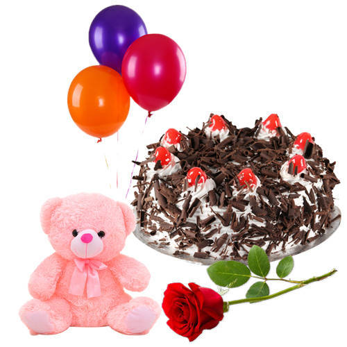Fresh Pick Single Rose with Black Forest Cake, Teddy and Balloons