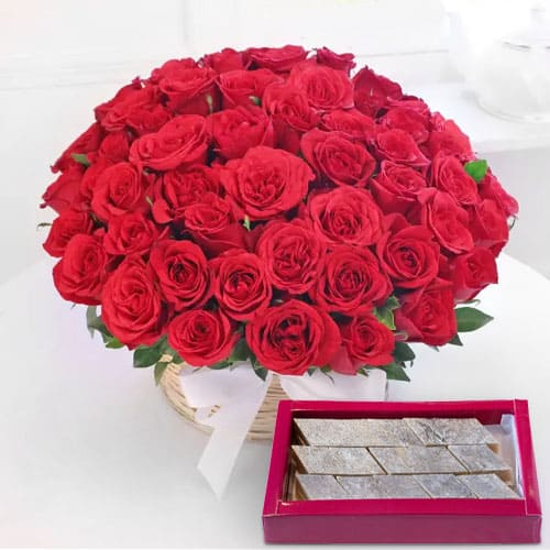 Pretty Basket of Red Roses N Kaju Barfi