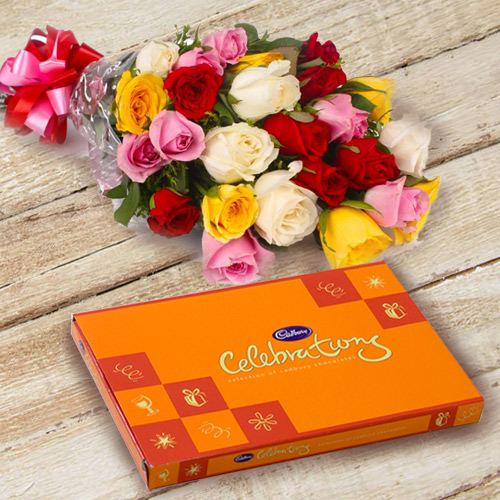 Anniversary Best Wishes Combo of Mixed Flower and Cadbury Celebration