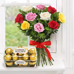 Order Combo of Mixed Roses with Ferrero Rocher Online