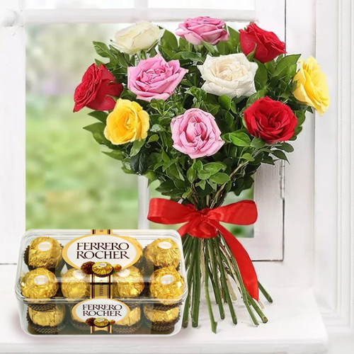 Marvelous Mixed Roses with Ferrero Rocher Chocolate