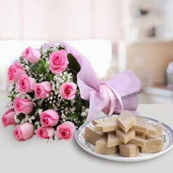 Online Gift of Pink Rose and Kaju Katli