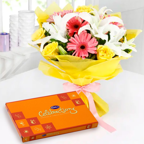 Remarkable Anniversary Wishes Cadbury Celebration Pack with Premium Mixed Flower Bouquet