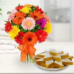 Order Gift Mixed Gerberas Arrangement with Kaju Katli Online