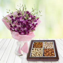 Online Gift Orchids Bouquet with Dry Fruits