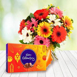 Send Combo of Mixed Gerbera Bouquet and Cadbury Celebration Online