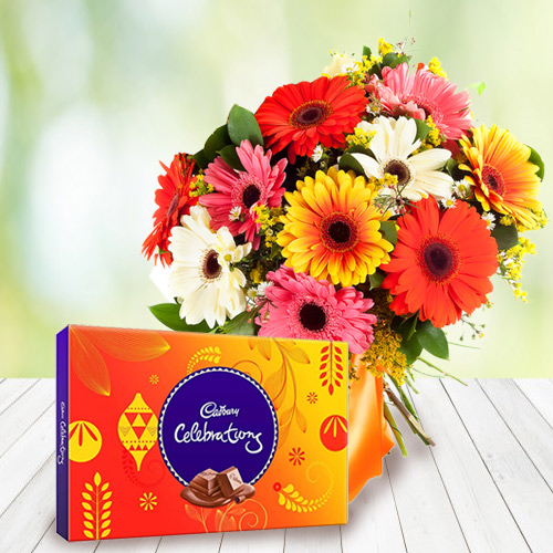Anniversary Burst Cadbury Celebration with Bouquet of Mixed Gerbera