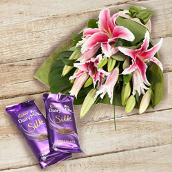 Deliver Online Pink Lilies Bouquet with Dairy Milk Silk