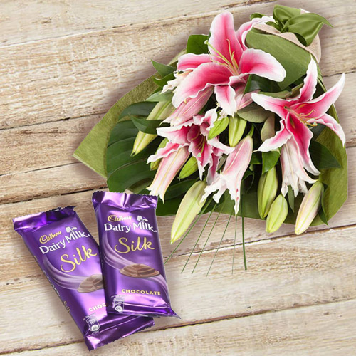 Anniversary Dramatic Pink Lilies Bouquet and Dairy Milk Silk Chocolates