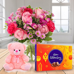 Order Mixed Flowers in a Vase with Cadbury Celebration and Teddy Online