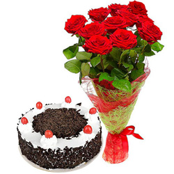 Glorious Black Forest Cake with Red Rose Bouquet