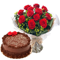Order Red Roses Bouquet with Chocolate Cake Online