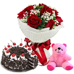 Soft N Pretty Red Roses Bouquet with Small Teddy N Black Forest Cake