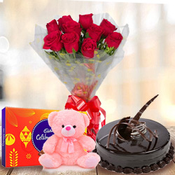 Deliver Red Roses Bouquet with Chocolate Cake, Teddy N Cadbury Celebration Online