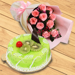 Online Combo of Red Roses Bouquet n Kiwi Cake