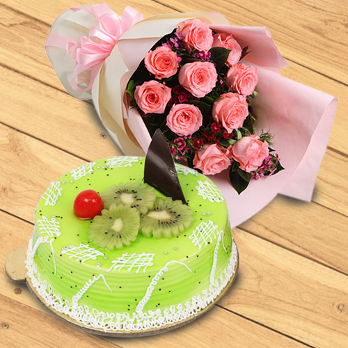 Creative Bouquet of Red Roses with Kiwi Cake