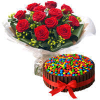 Book Online Red Roses Bouquet with Kitkat Cake