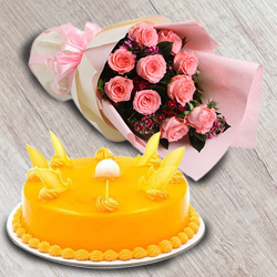 Deliver Combo Gift of Red Roses Bouquet N Mango Flavour Cake