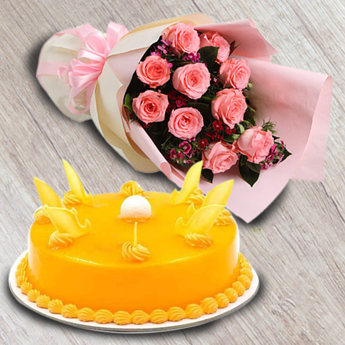 Lovely Combo of Red Roses Bouquet with Mango Flavour Cake