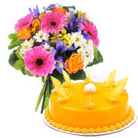 Send Combo of Mixed Flowers Bouquet N Mango Cake Online