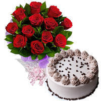 Order Online Red Roses Bouquet N Coffee Cake