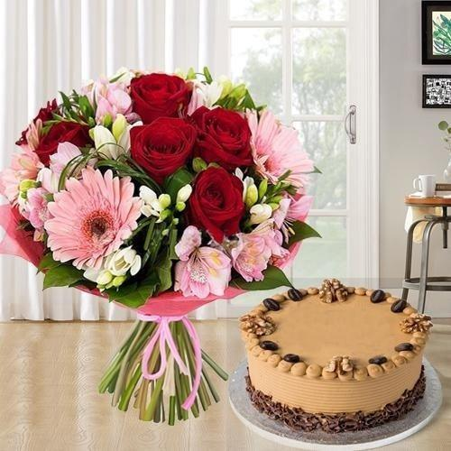 Combo of 12 Mixed Flowers Bouquet N 1 kg Coffee Cake