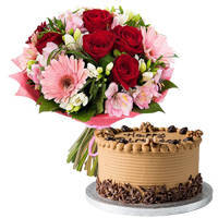 Gift Mixed Flowers Bouquet N Coffee Cake Online