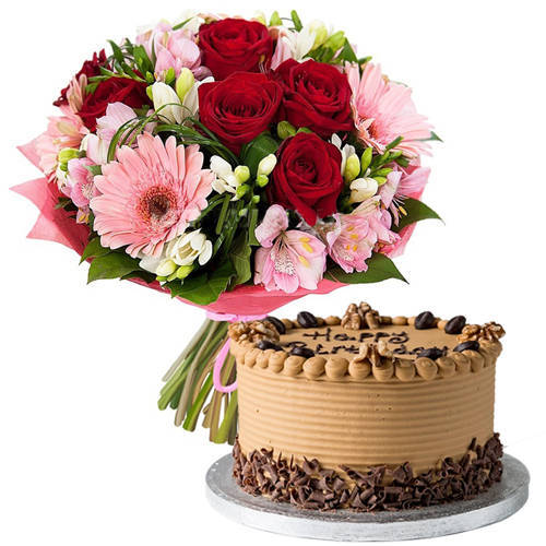 Special Combo of Mixed Flowers Bouquet with Coffee Cake