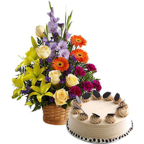 Garden-Fresh Mixed Flowers Arrangement with Coffee Cake