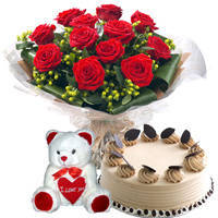 Shop Online Bouquet of Red Roses with Coffee Cake N Teddy