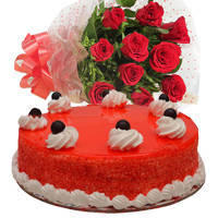 Online Combo of Red Roses Bouquet with Red Velvet Cake