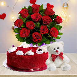 Deliver Red Roses Bouquet with Red Velvet Cake N Teddy Online