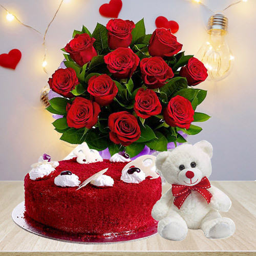 Charming Red Roses Bouquet with Red Velvet Cake N Teddy