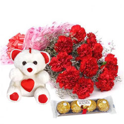 Glorious Bouquet of Carnation with Teddy N Ferrero Rocher