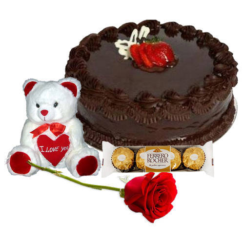 Extraordinary Teddy Bear with Chocolate Cake, Red Rose N Ferrero Rocher