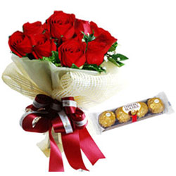 Precious Red Roses Bouquet with Ferrero Rocher Chocolate