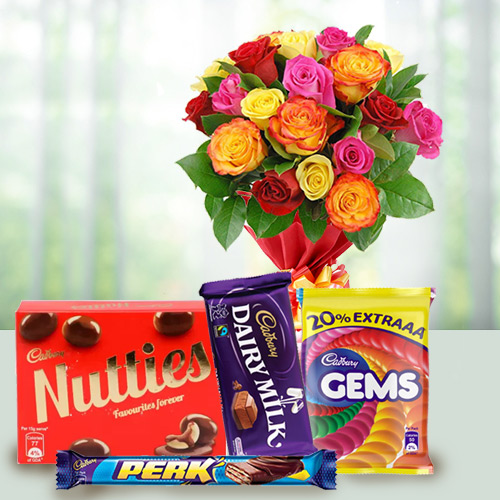 Mixed Roses Bunch N Cadbury Celebrations Pack
