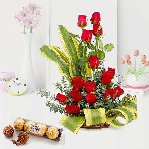 Unique Arrangement of Red Roses with Ferrero Rocher