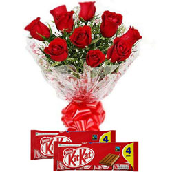 Artfully Arranged Red Roses Bouquet with Nestle Kit Kat