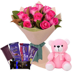 Marvelous Assorted Cadbury Chocolates with Pink Roses Bouquet N Teddy