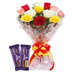 Florist's Choice Mixed Roses Bouquet with Dairy Milk Crackle